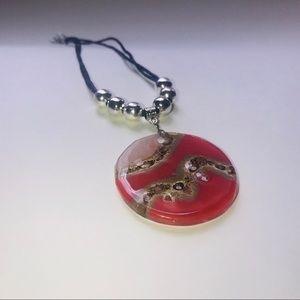 Gorgeous glass and leather necklace, each Unique!